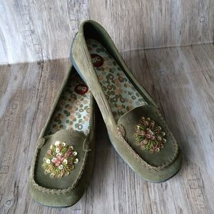 BC Footwear Olive Green Sequin Moccasins Loafers